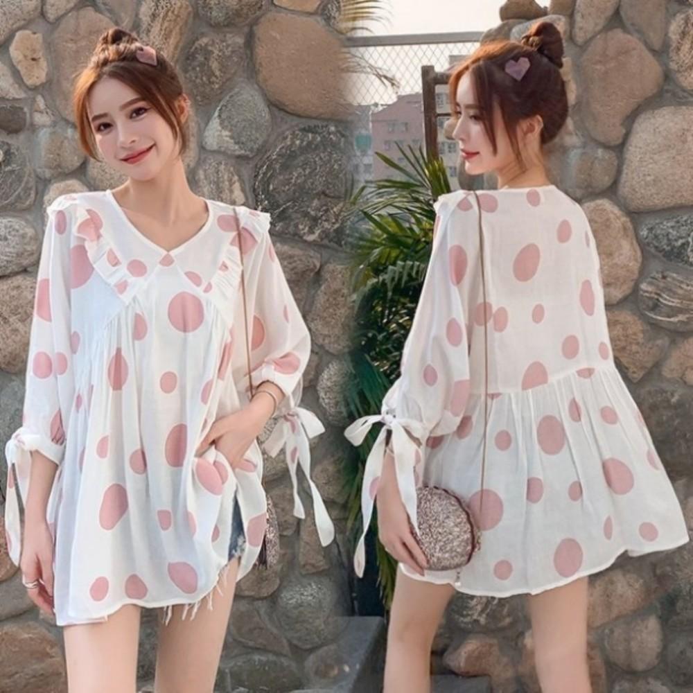 C2137-韓系 寬鬆 波點 襯衫【C2137】 甜蜜泡泡 七分袖 小V領 孕婦裝 洋裝 連身裙 上衣