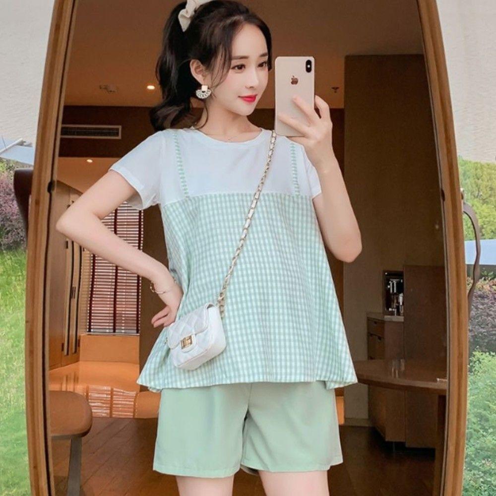 C2325-韓系 假兩件 孕婦 上衣【C2325】格紋 假二件 短袖 棉T  孕婦裝 不含短褲