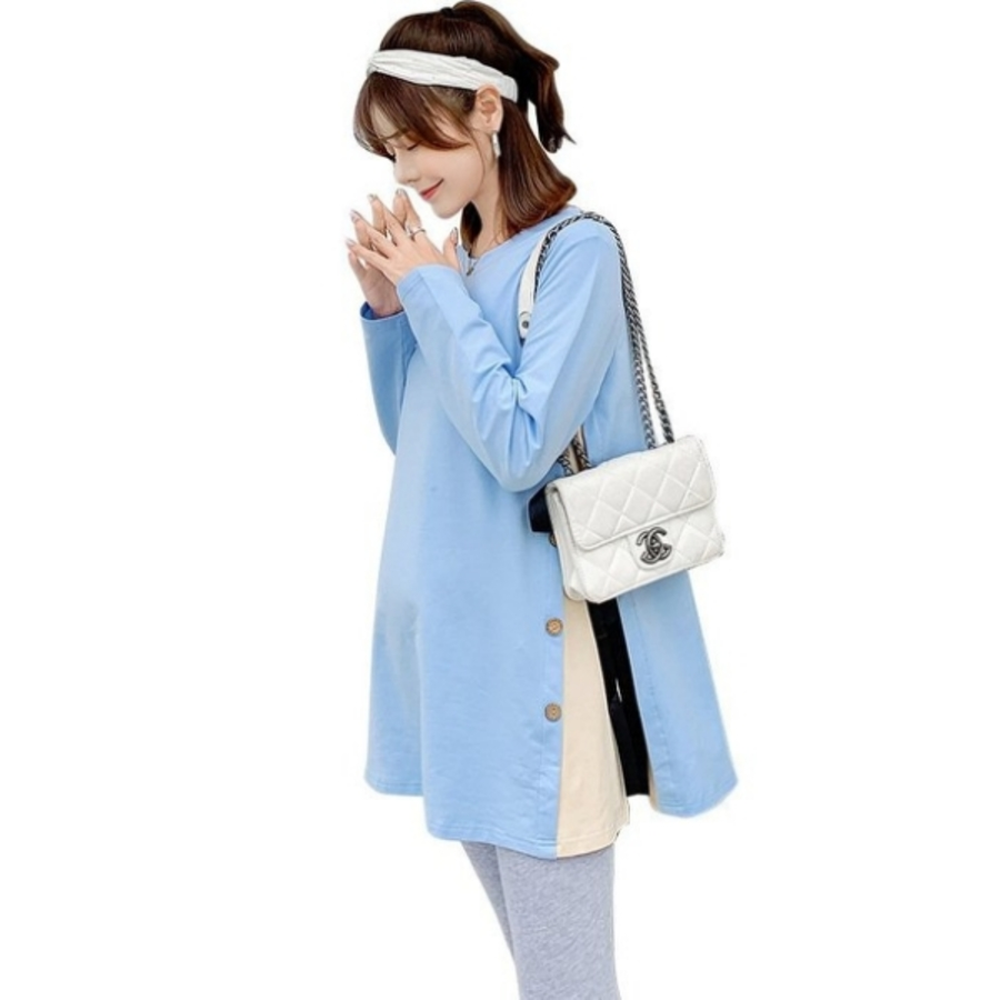時尚 孕婦 M-XXL【C2678】長版上衣 寬鬆 大碼 連衣裙 長版衣 孕婦裝