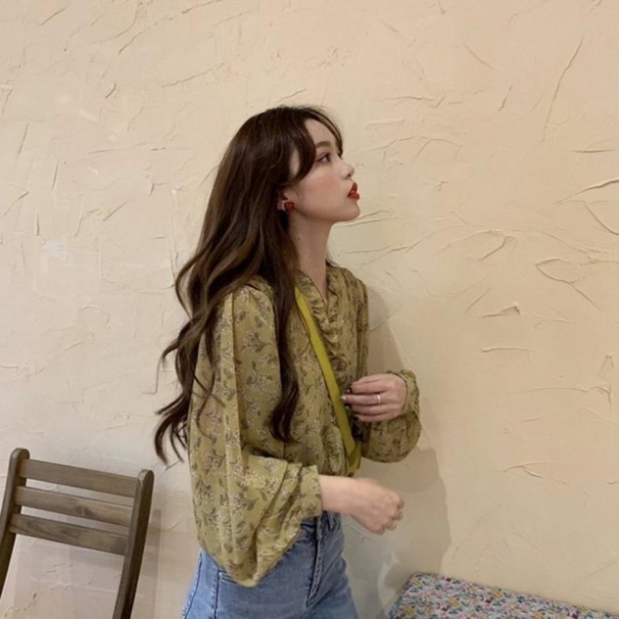 韓系碎花襯衫【C2921】 M-XL 寬鬆 雪紡 碎花 長袖襯衫 女 薄款 防曬上衣 女襯衫 雪紡衫