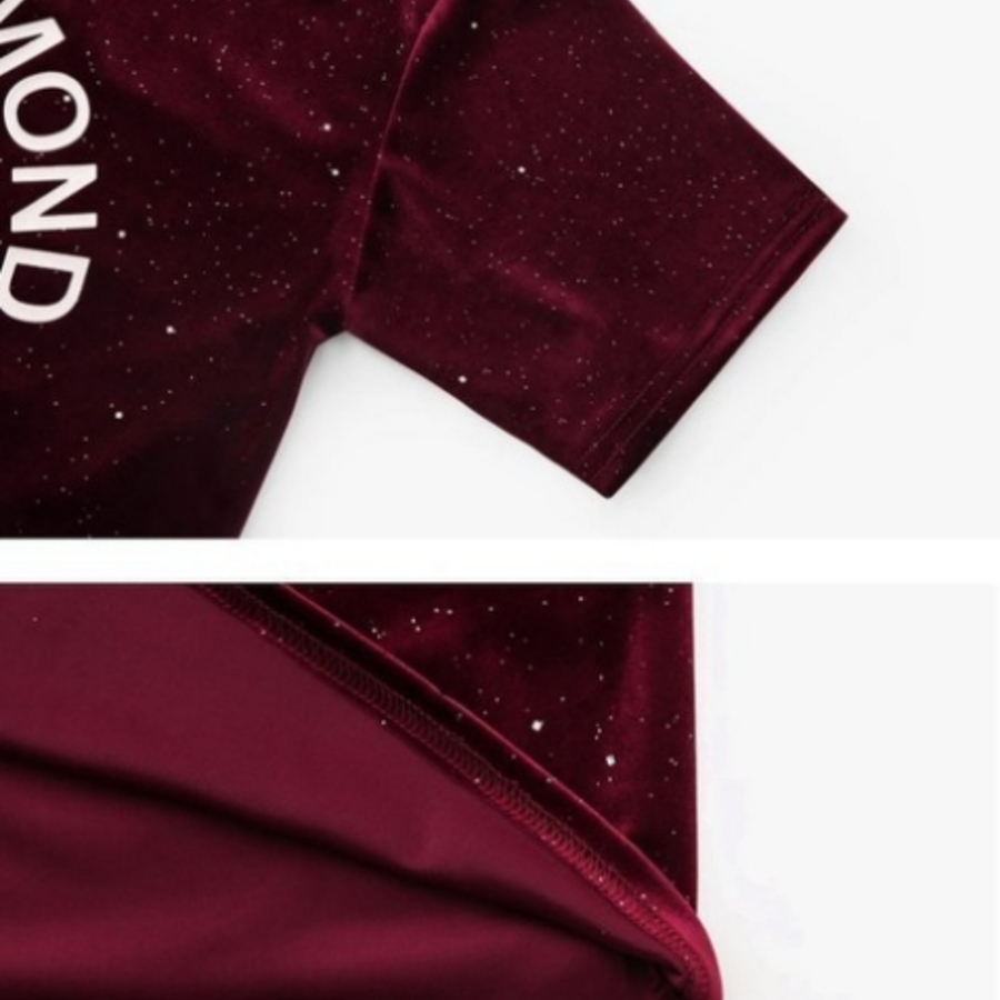 亮片華麗上衣【C3352】 字母 五分袖 中袖 韓 寬鬆 上衣 亮片 絲絨 T恤 女裝