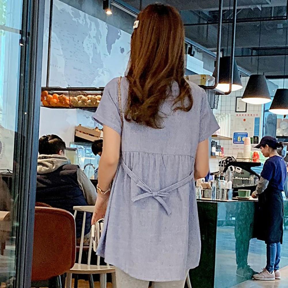 韓系 實拍 繡花襯衫  【C3906】  戀愛桃心洋裝 開襟 短袖 孕婦裝 刺繡 立領 孕運上衣 長版襯衫