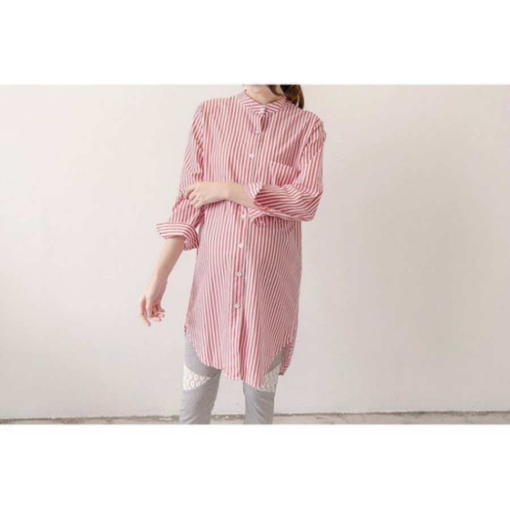 韓系 條紋上衣 襯衫 洋裝 【C4216】 立領 長袖 開扣 襯衫洋裝 孕婦裝 女襯衫 立領襯衫