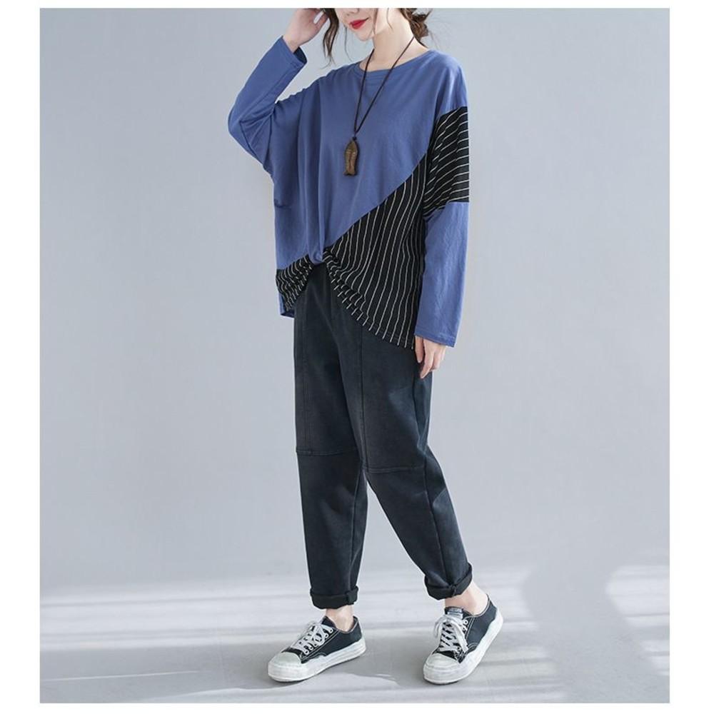 輕熟感 文藝 舒適感棉T【C5252】 條紋 拼接 T恤 寬鬆 長袖 蝙蝠袖 扭結 無肩線 上衣