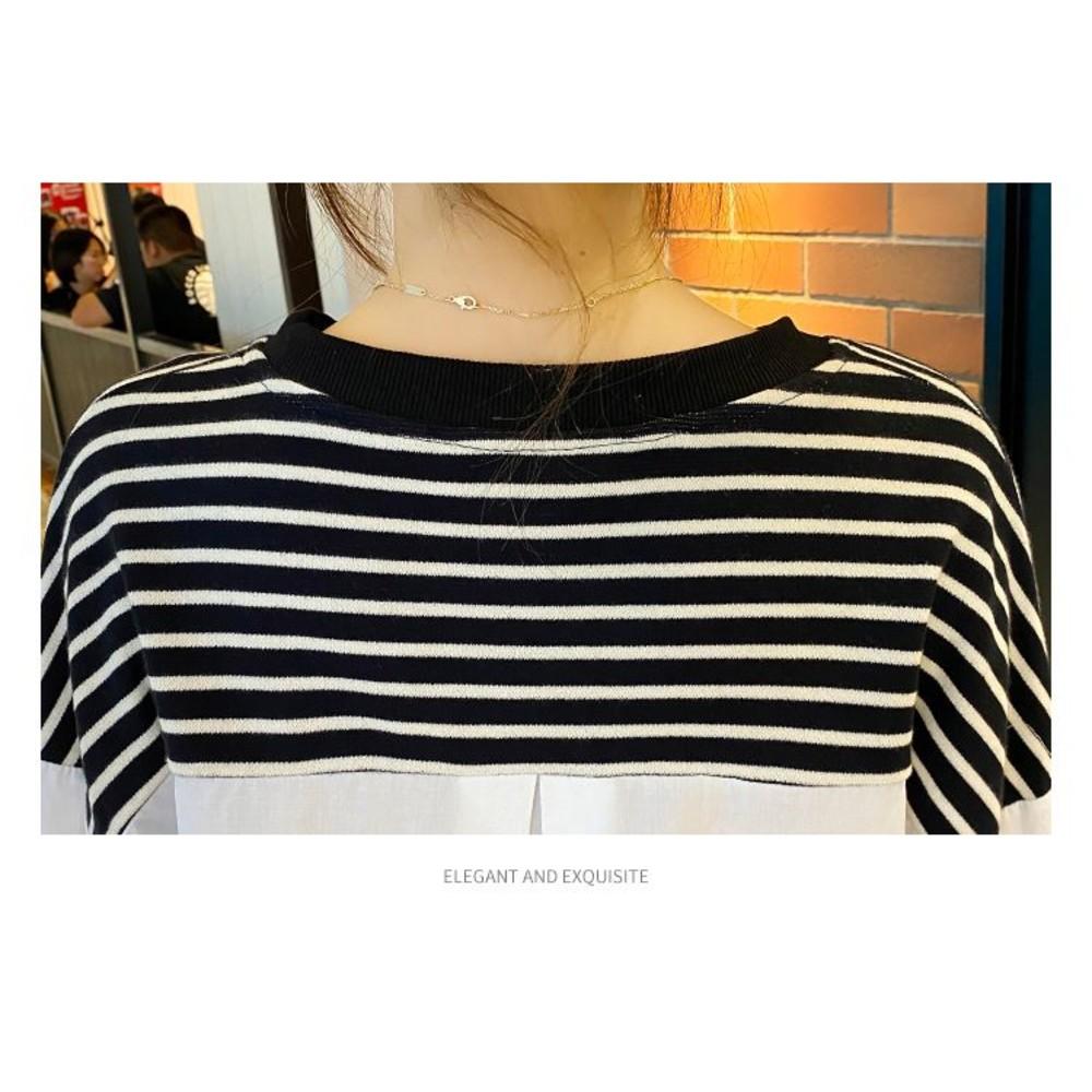 實拍 韓系 假兩件上衣【C5351】針織棉 拼接 條紋 襯衫 假二件 上衣