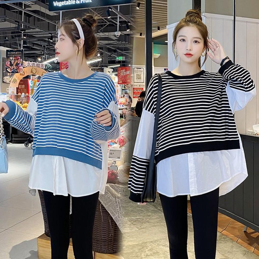C5351 - 實拍 韓系 假兩件上衣【C5351】針織棉 拼接 條紋 襯衫 假二件 上衣