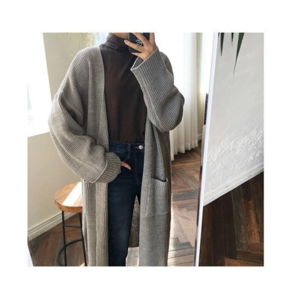 C5380-純色針織外套 【C5380】 寬鬆 毛衣 外套 針織 開叉 開襟 長版外套 孕婦裝