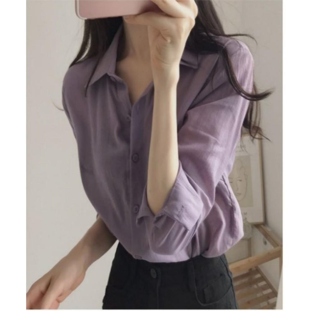 韓系 百搭上班族襯衫【C5623】M-XXL 純色 長袖 OL 女襯衫 襯衫 女 實拍 開扣襯衫
