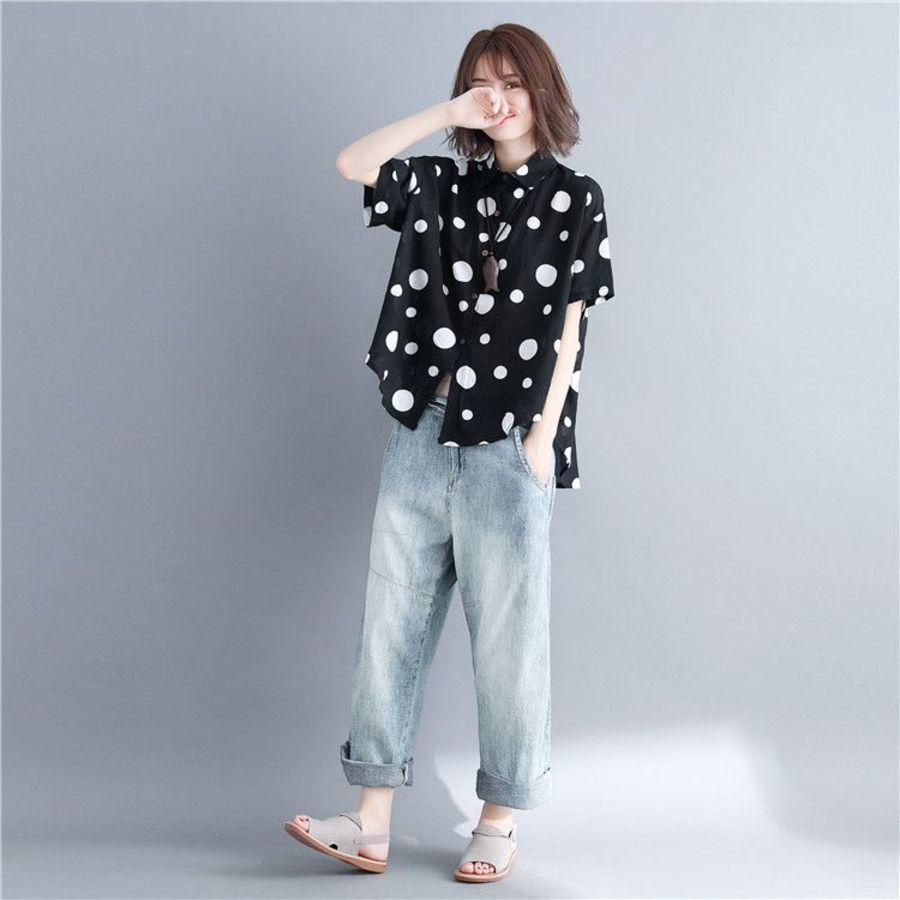 韓系 文藝 實拍 寬鬆 中袖 上衣【C5832】波點 拼接 短袖 短袖 襯衫 大碼 上衣