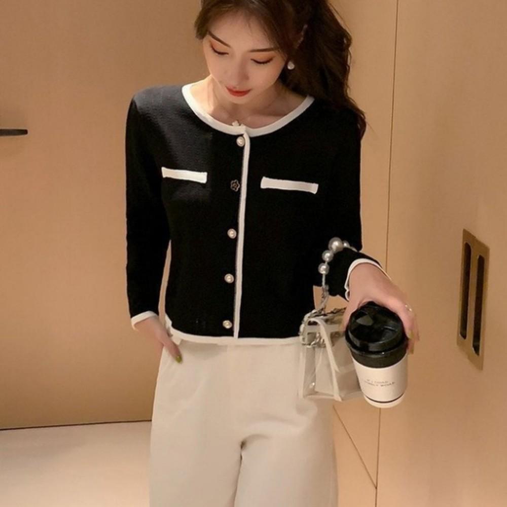 韓版 寬鬆【C5926】針織衫 秋季 個性 單排扣 百搭時尚 針織外套
