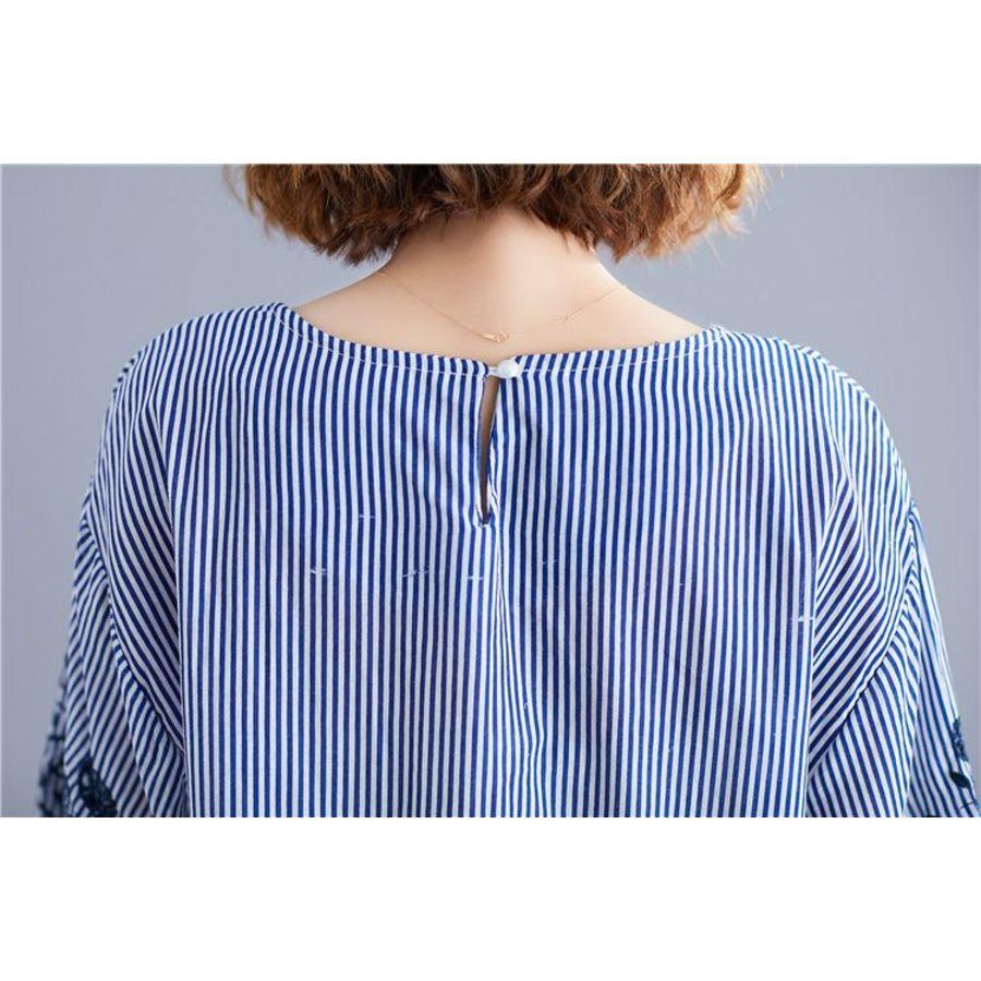 實拍 文藝 七分袖 襯衫【C6087】條紋 高質感 中袖 勾花 鏤空 繡花 棉麻 上衣