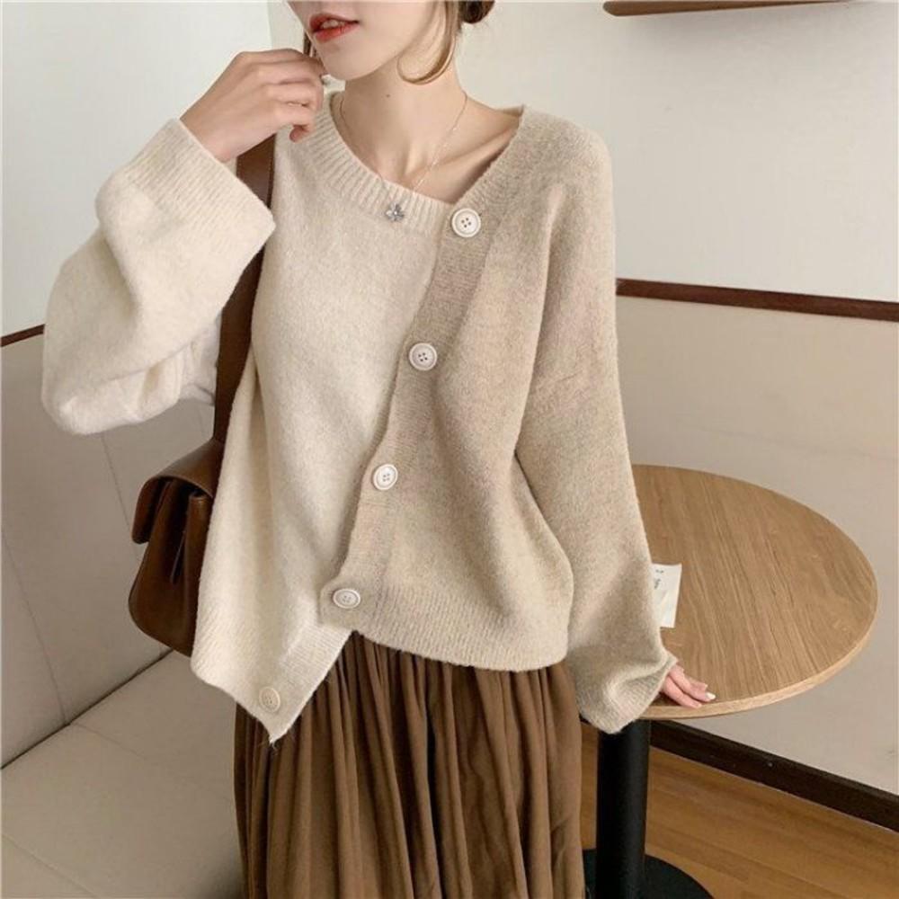 韓系 針織衫【C6186】秋冬 新款 韓國 東大門 寬鬆 百搭 不規則 慵懶風 針織毛衣 開衫外套