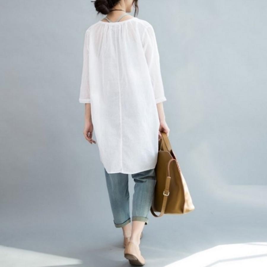 韓國襯衫 【C6366】 鈕扣 七分袖 薄款 V領 微透 棉麻 防曬衣 襯衫 開襟 孕婦裝