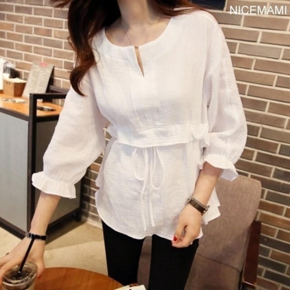 C728YB - 七分袖襯衫 【C728YB】 棉麻 襯衫 孕婦上衣 孕婦裝