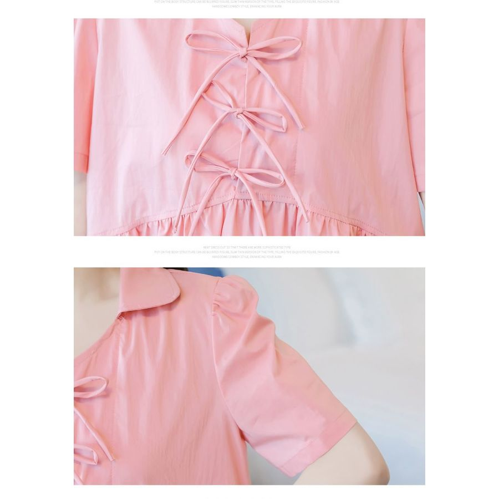 韓系 實拍 翻領 娃娃衫  【C7361】 七分袖 襯衫 綁帶 中袖 短袖 孕婦裝 孕運上衣
