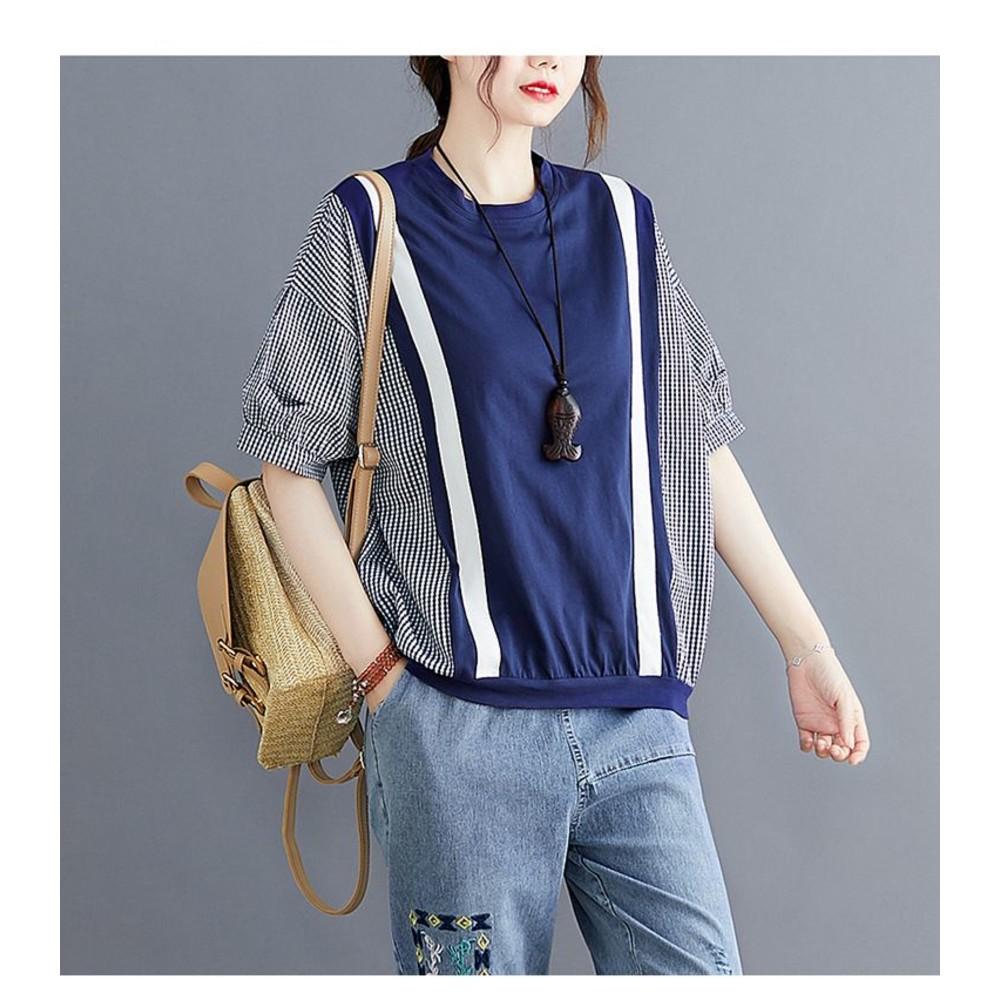 原創 文藝 實拍 寬鬆 中袖 上衣【C5832】棉格紋 拼接 條紋 織帶 短袖 襯衫 中大碼 上衣