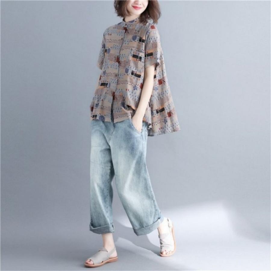 C8093US - 【C8093US】夏季新款大碼女裝韓版 胖MM襯衫T恤上衣