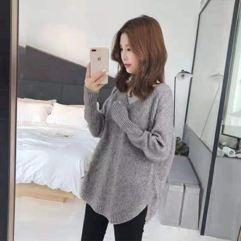 韓系 慵懶風 寬鬆 百搭 上衣 V領 毛衣【C8221】針織衫 女 秋冬 針織毛衣 針織上衣