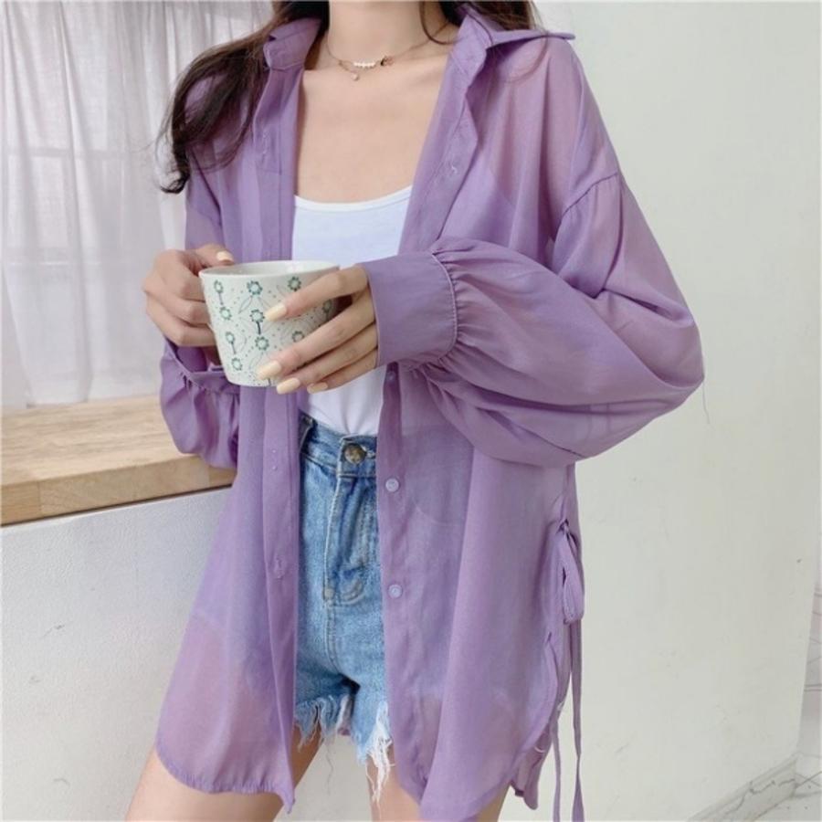 防曬衫 側面綁帶【C8223】 後開叉 雪紡開衫 薄款外套 防晒衣 襯衫 罩衫