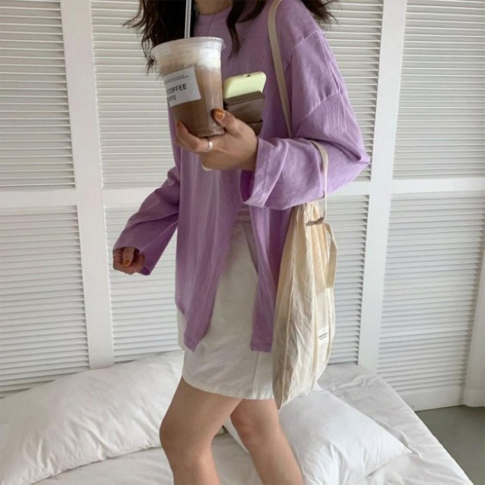 實拍 韓系 開叉寬鬆 落肩 上衣【C8529】 長袖 寬鬆 長版上衣 休閒 長版衣