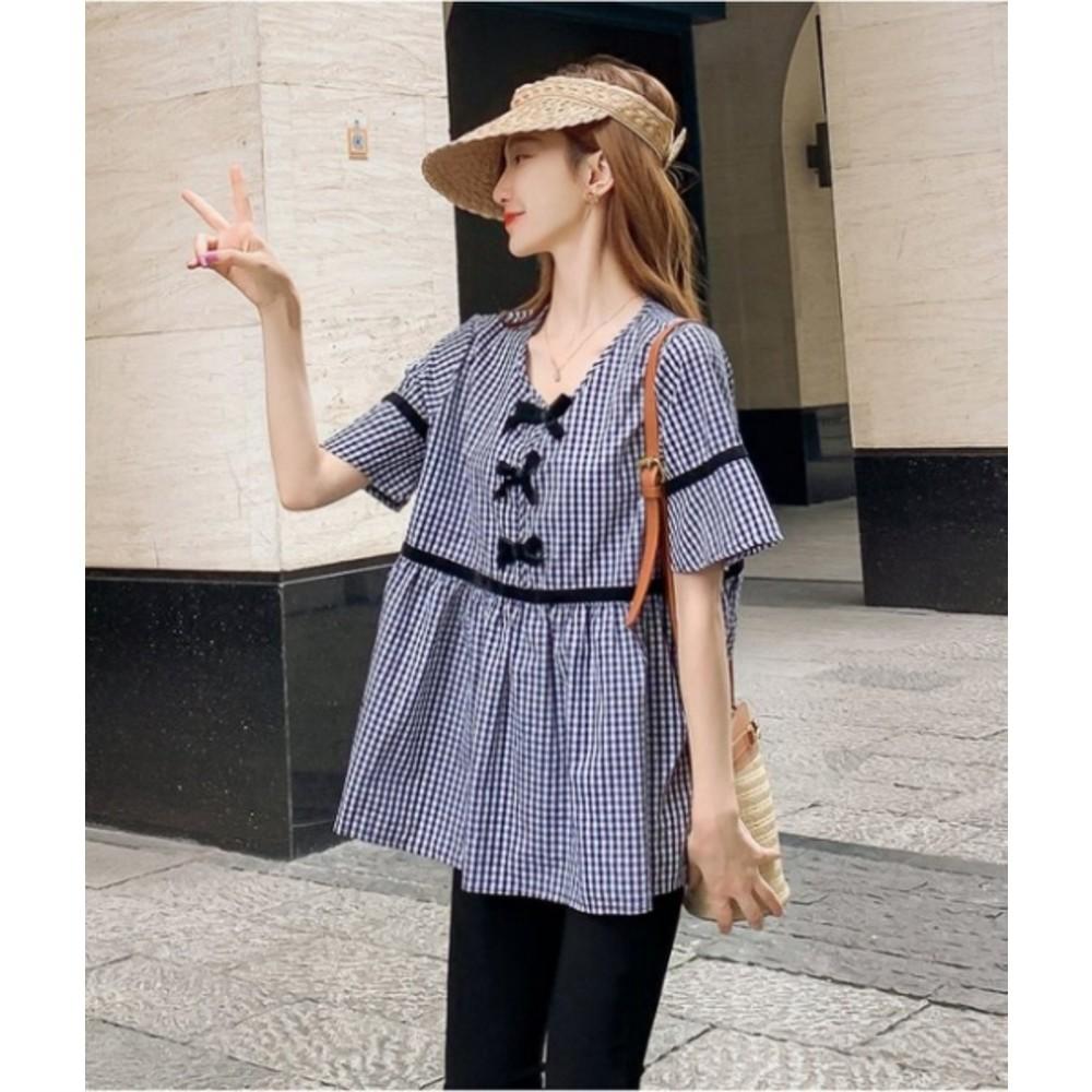 法式 格紋上衣 【C8536】 小香風格 格子 短袖 上衣 襯衫 孕婦裝 娃娃衫 短版襯衫