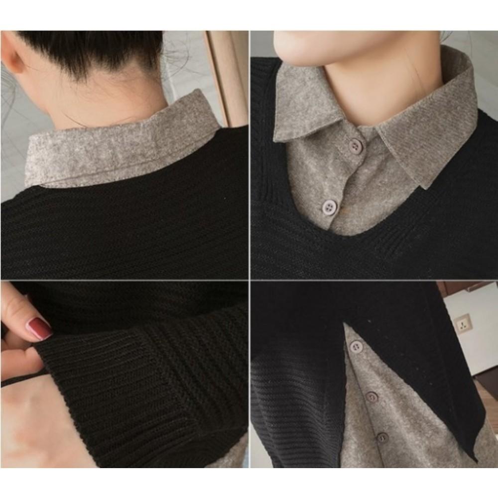 韓系上衣襯衫 【C8821】 假兩件 針織 拼接 襯衫領 開扣 上衣 開襟 襯衫 針織衫 孕婦裝
