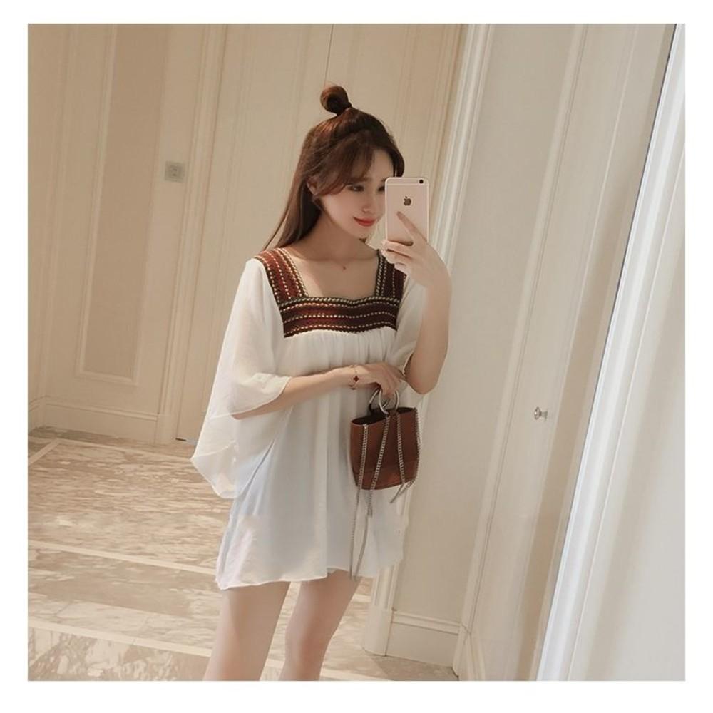露背上衣 【C8840GS】 刺繡 方形領 雪紡衫 寬鬆 罩衫 孕婦裝 寬袖 孕婦上衣