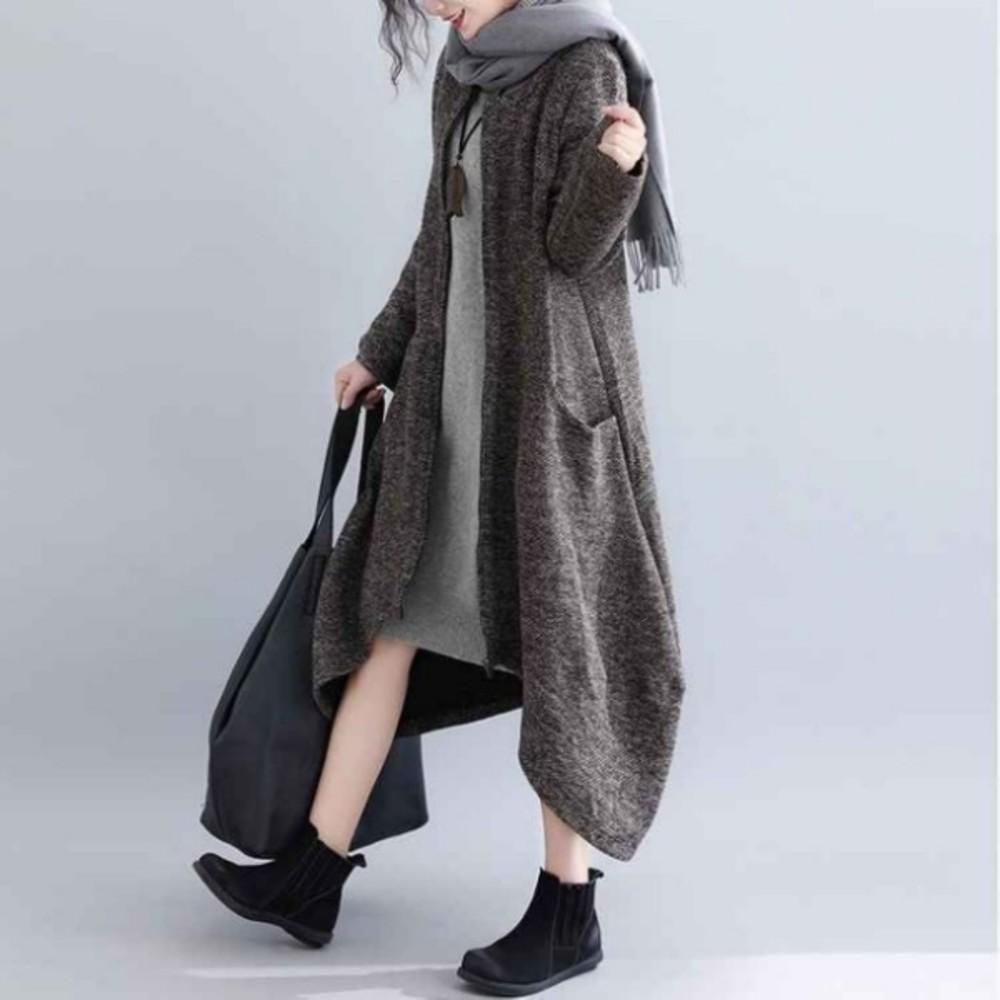 寬鬆外套 【C8850】 粗棉織毛衣 花苞 外套 針織 不規則 大碼 開襟 拉鍊 孕婦裝