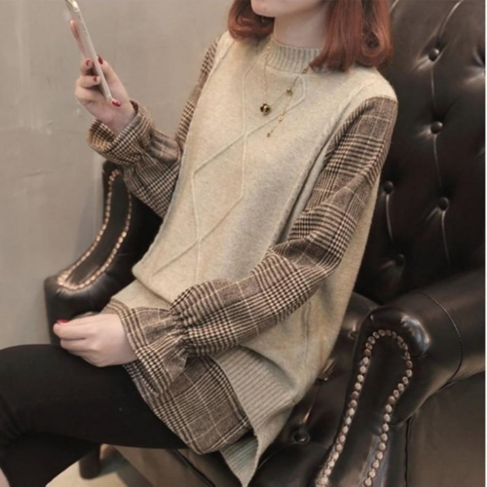 針織毛衣 【C8880】韓系 襯衫 拼接 假兩件 背心 針織 長袖 孕婦裝 針織上衣