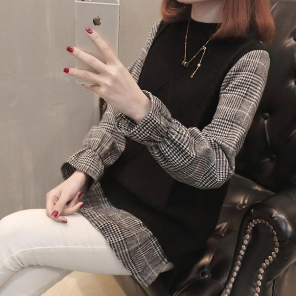 C8880 - 針織毛衣 【C8880】韓系 襯衫 拼接 假兩件 背心 針織 長袖 孕婦裝 針織上衣