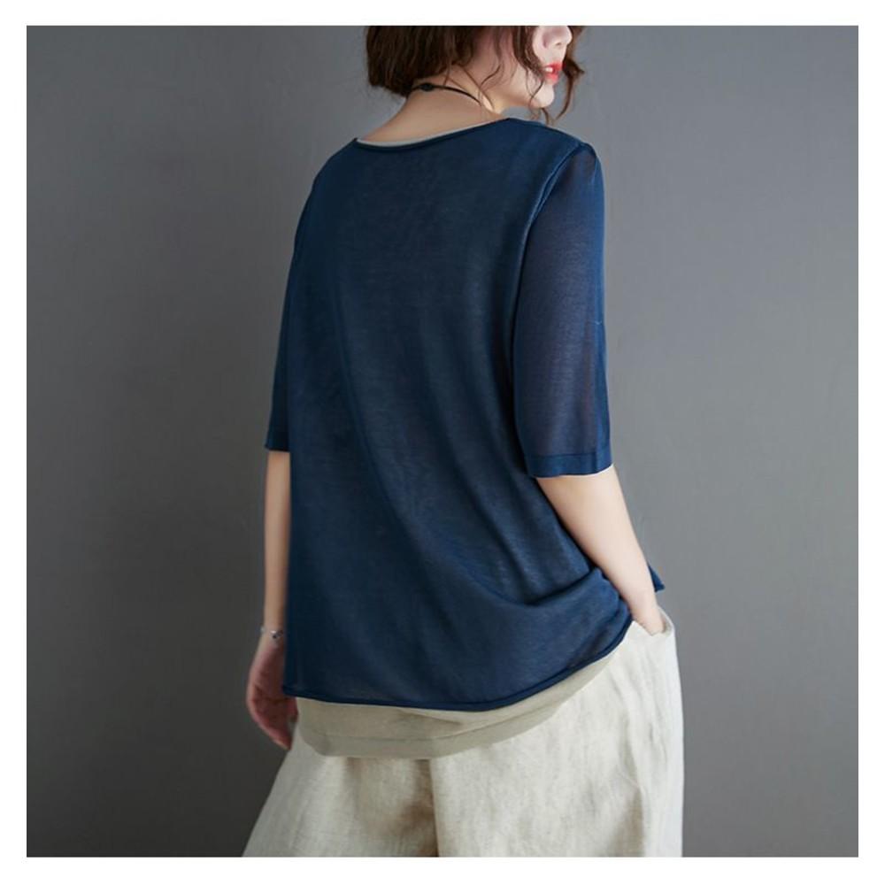 實拍 假兩件 五分袖 寬鬆上衣【C8896】文藝 寬鬆 上衣中袖 孕婦上衣 中大尺碼