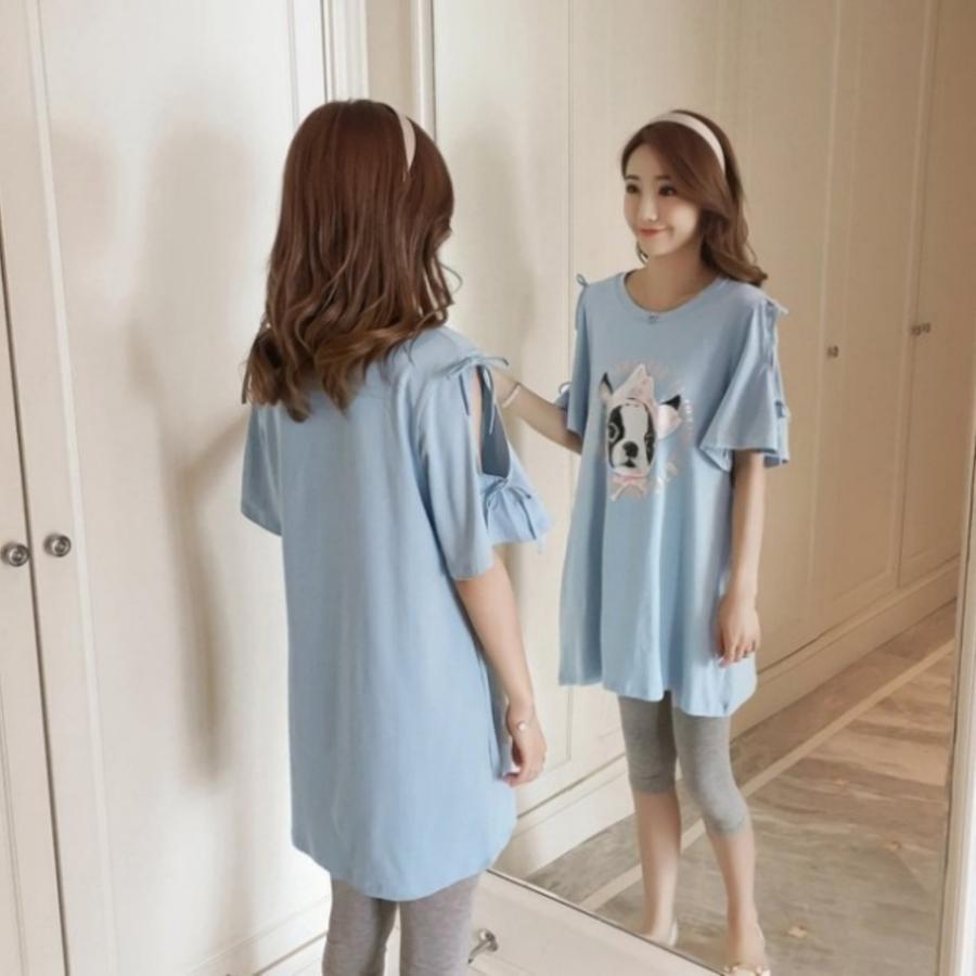 法鬥狗長版T 【C9200】露肩 喇叭袖 加大 孕婦裝 孕婦洋裝 長版衣 寬鬆