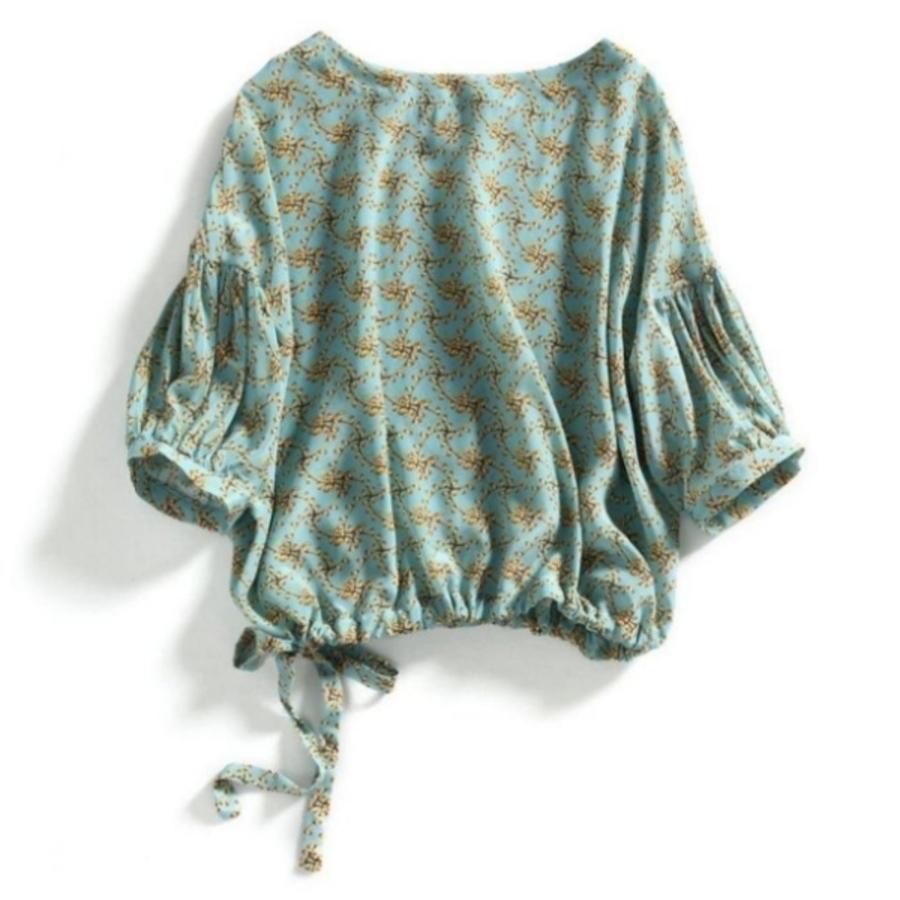 七分袖 女裝 2020燈籠袖 寬鬆 碎花上衣 雪紡衫【CC6601】 韓 女上衣