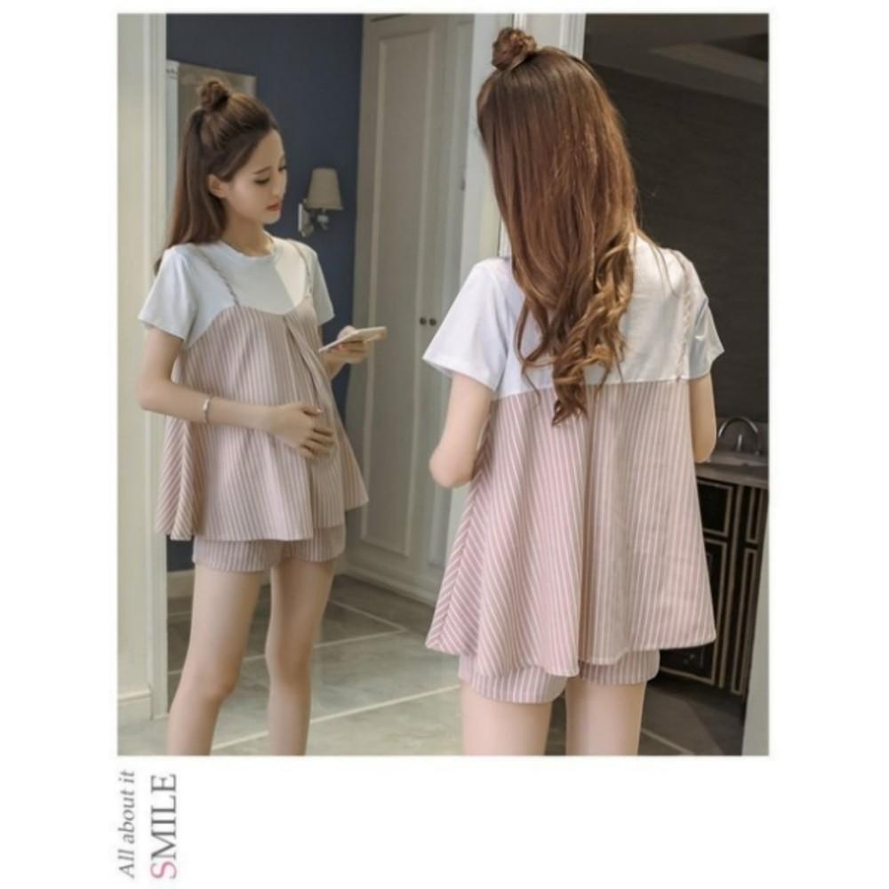 衣十褲套裝 【CP0008】 兩件式 短袖 條紋 假兩件 傘狀 寬鬆 孕婦 套裝 孕婦短褲托腹褲