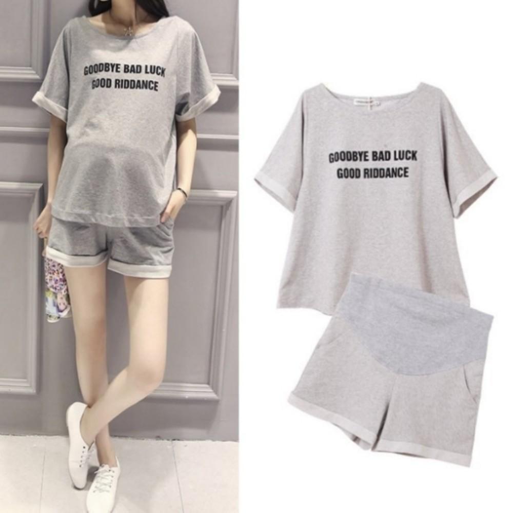CP0053SL - 兩件式衣十褲 【CP0053SL】 孕婦裝 短袖 運動套裝 寬袖 托腹短褲