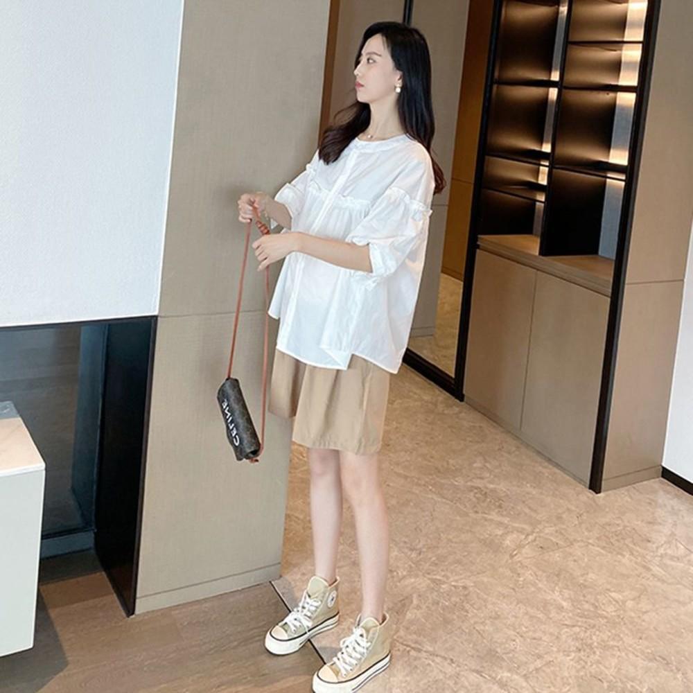 韓系 實拍 套裝【CP2276】中袖 襯衫 孕婦 高腰 托腹短褲 五分袖 上衣 孕婦短褲