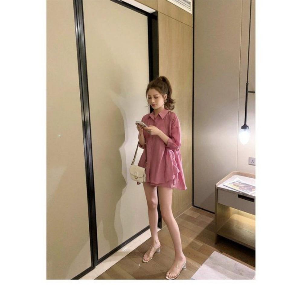 韓系 雪紡上衣 套裝【CP2410】寬鬆 襯衫 上衣 腰部褶皺 托腹短褲 孕婦裝
