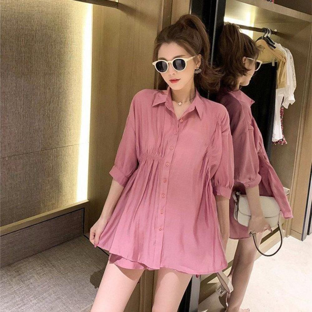 CP2410-韓系 雪紡上衣 套裝【CP2410】寬鬆 襯衫 上衣 腰部褶皺 托腹短褲 孕婦裝