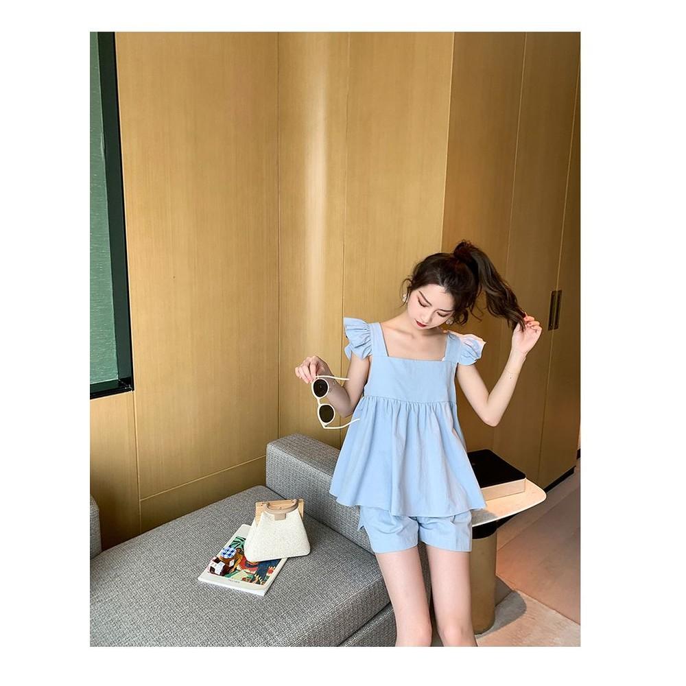 韓系 實拍 無袖 套裝【CP2523】方領 荷葉 娃娃衫 上衣 托腹 短褲 孕婦短褲 托腹短褲