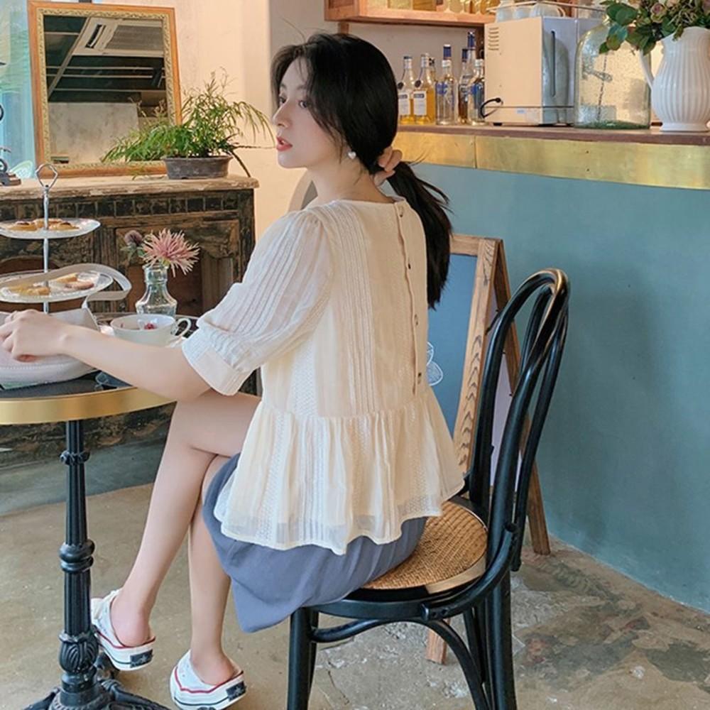 韓系 實拍 質感 【CP2961】公主袖 泡泡袖 襯衫上衣 高腰 托腹短褲 孕婦短褲 任選