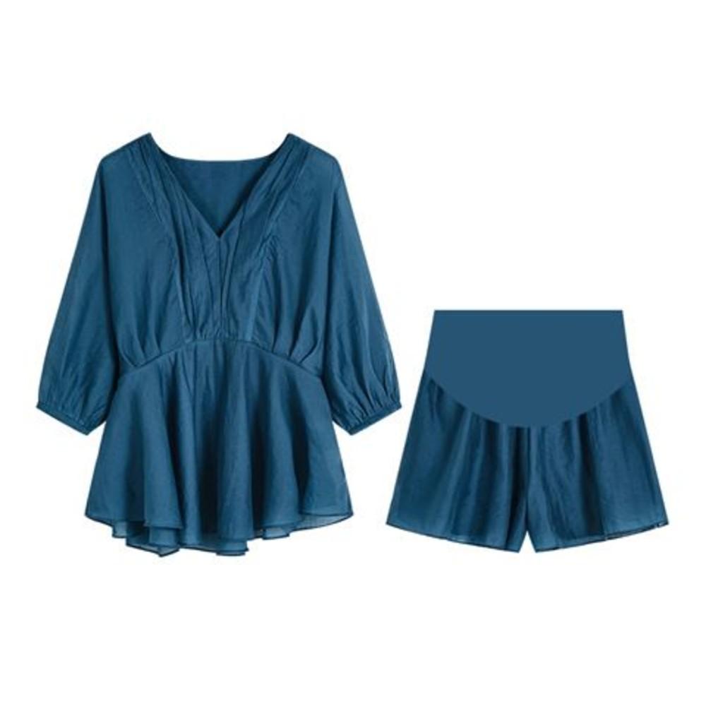 韓系 V領 七分袖套裝【CP6761】中袖 上衣 高腰托腹短褲 套裝 孕婦套裝