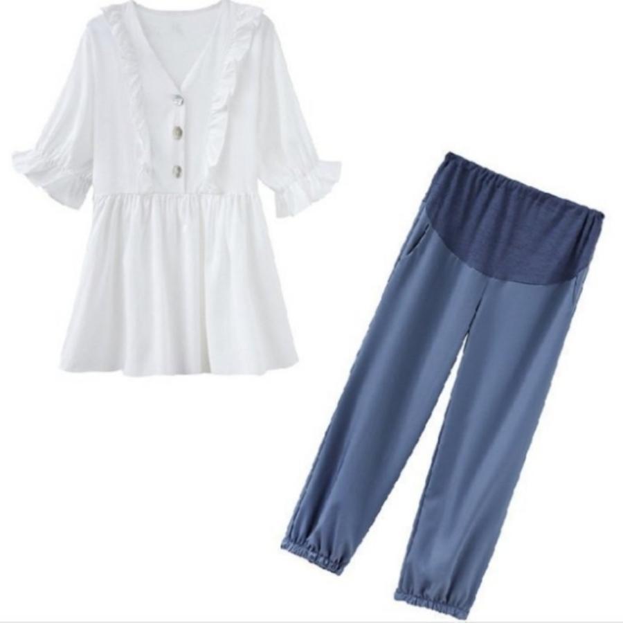 CP8437 - 孕婦套裝【CP8437】 V領 荷葉 上衣 襯衫 娃娃裝 束口褲 縮口褲 九分褲 孕婦裝