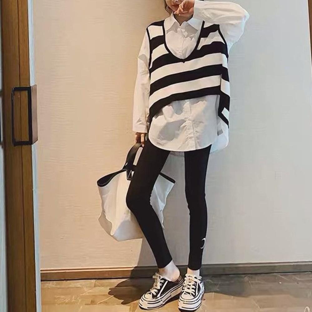 韓系 兩件式 襯衫 背心【CS1021】條紋 V領 針織背心 翻領 寬鬆 襯衫 長版襯衫 不含長褲