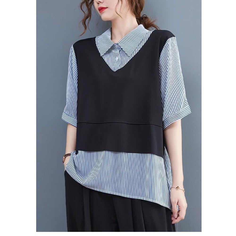 實拍 文藝 假兩件 套裝 【CS5035】 假二件 五分袖 拼接 條紋 翻領 寬鬆 短袖 襯衫 背心