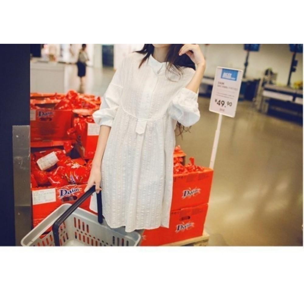 質感洋裝 【D0205】 押花 落肩 九分 長袖 立領 襯衫 孕婦裝 孕婦 襯衫洋裝 長版襯衫