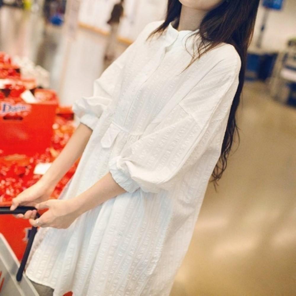 質感洋裝 【D0205】 押花 落肩 九分 長袖 立領 襯衫 孕婦裝 孕婦 襯衫洋裝 長版襯衫 封面照片
