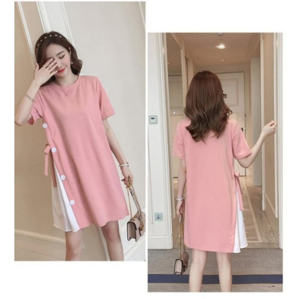 韓國短袖洋裝 【D0211】 短袖 鈕扣 假兩件 拼接 孕婦裝 長版衣 孕婦洋裝
