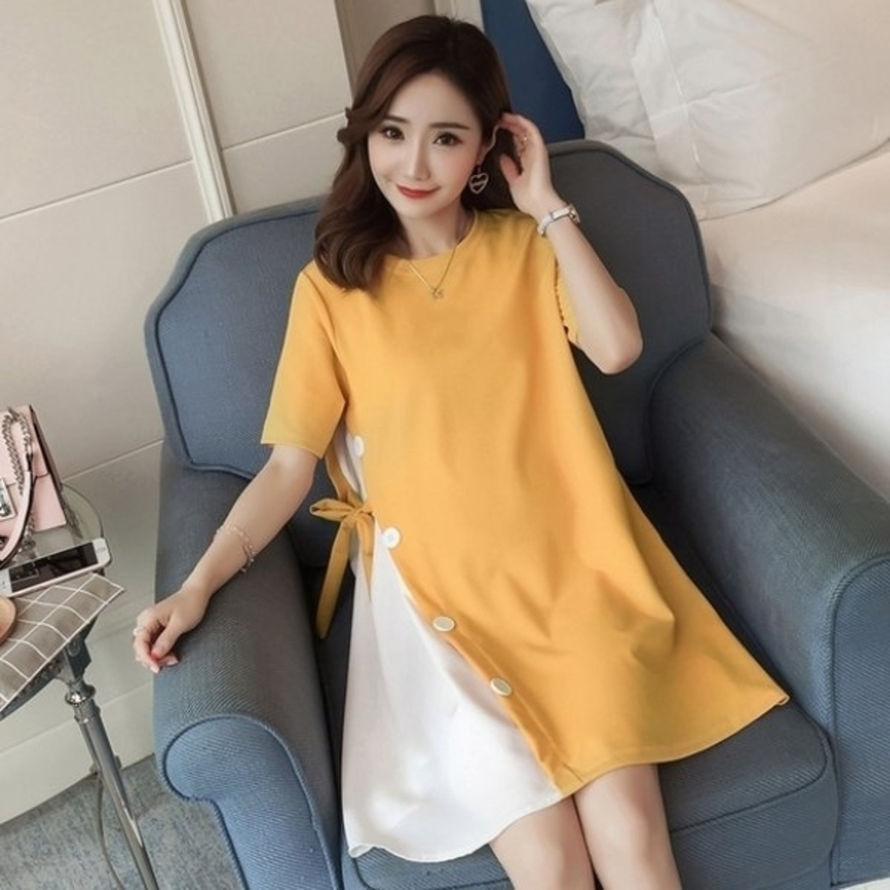 D0211-韓國短袖洋裝 【D0211】 短袖 鈕扣 假兩件 拼接 孕婦裝 長版衣 孕婦洋裝