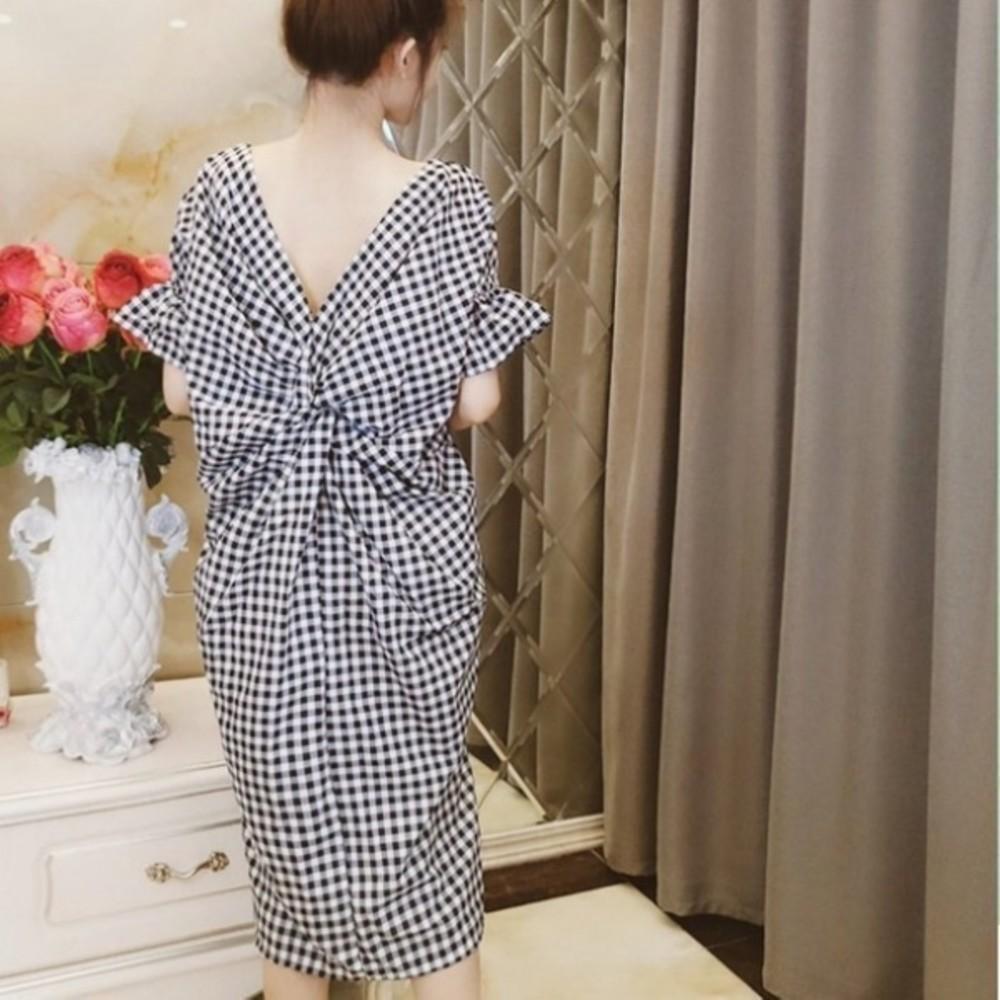 扭結格紋洋裝 【D0216】 孕婦裝 寬鬆 長洋裝 荷葉袖 寬袖 洋裝