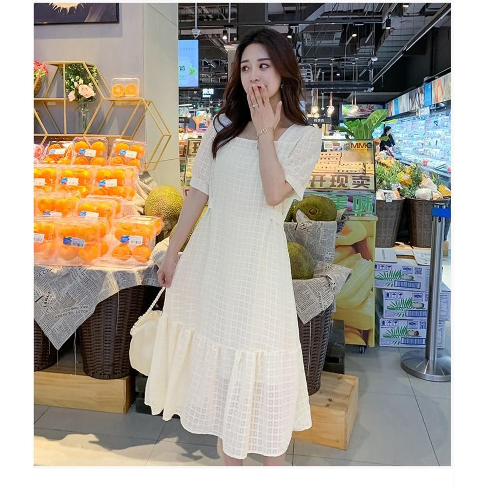 韓系 實拍 方領 質感 洋裝【D0237】泡泡袖 短袖 格子 連衣裙 魚尾裙 波浪裙